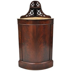 Antique Federal Crotch Mahogany Small Corner Cabinet Cupboard Pedestal Stand