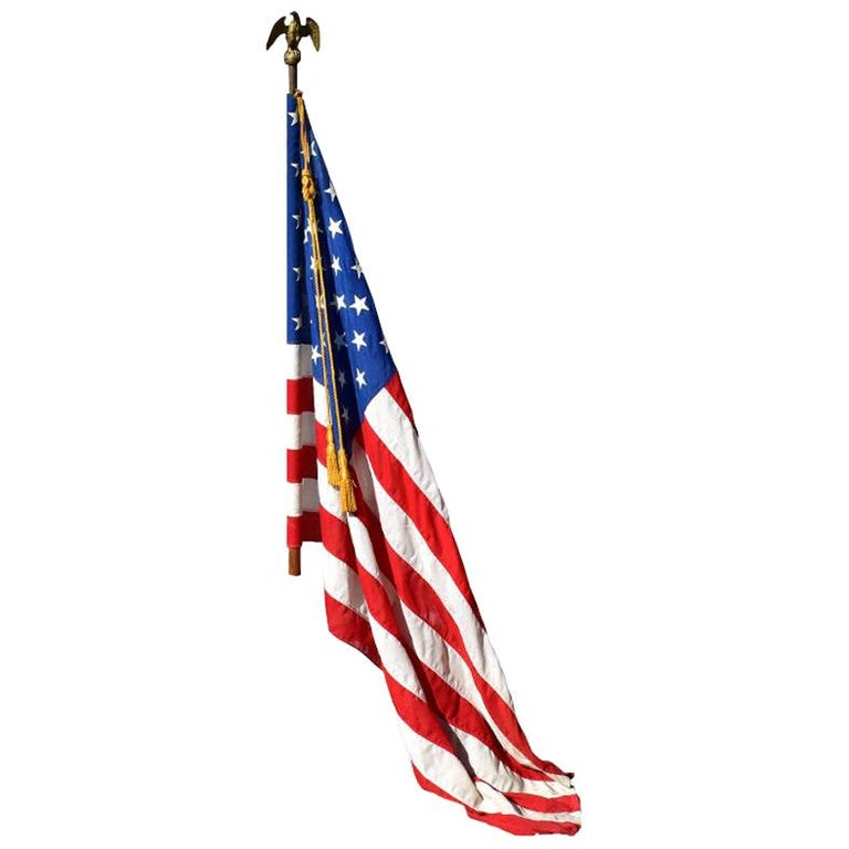 Antique Federal Eagle American 50 Star Flag with Brass Eagle Pole, 19th Century For Sale