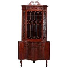Antique Federal Flame Mahogany and Satinwood Inlay Serpentine Corner Cabinet