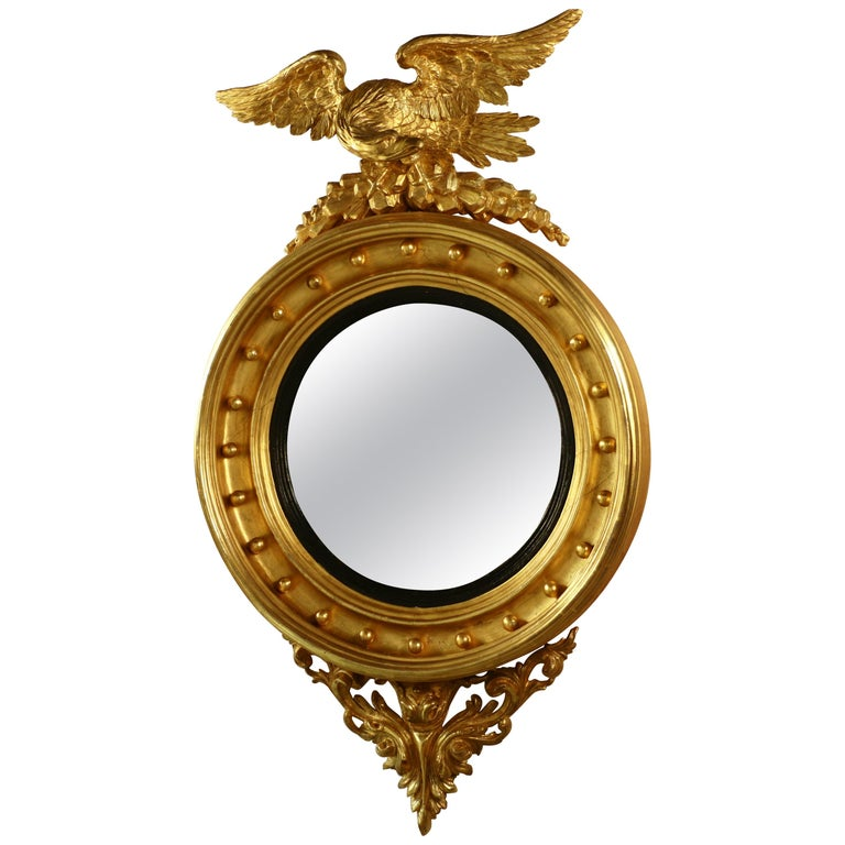 Antique Federal Giltwood Convex Mirror With Eagle Crest