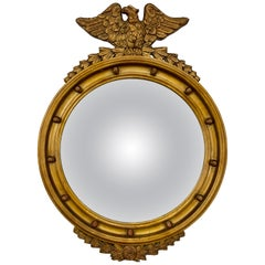 Antique Federal Gold Giltwood Convex Mirror with Eagle