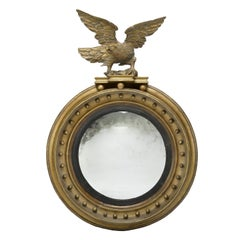 Antique Federal Hand Carved and Gilt Bullseye Eagle Mirror, 1815