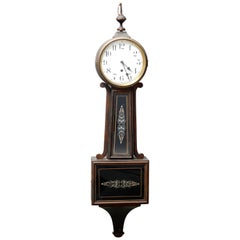 Antique Federal Mahogany Banjo Wall Clock by Waterbury Clock Co, circa 1900