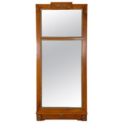 Antique Federal Period Cherrywood Mirror with Brass Highlights, circa 1820-1840