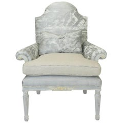Antique Federal Style Armchair in Silk Sky Print