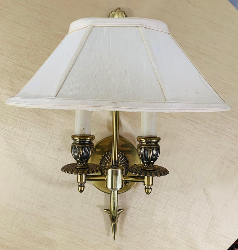 American Antique Federal Style Double Arm Brass Wall Sconce, a Pair For Sale