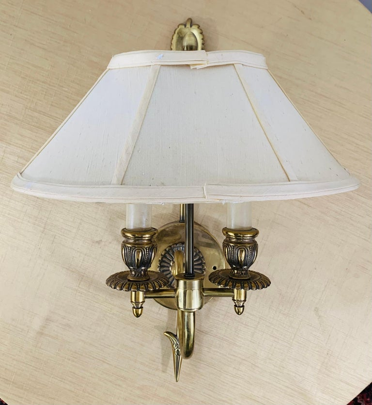 Antique Federal Style Double Arm Brass Wall Sconce, a Pair In Good Condition For Sale In Plainview, NY