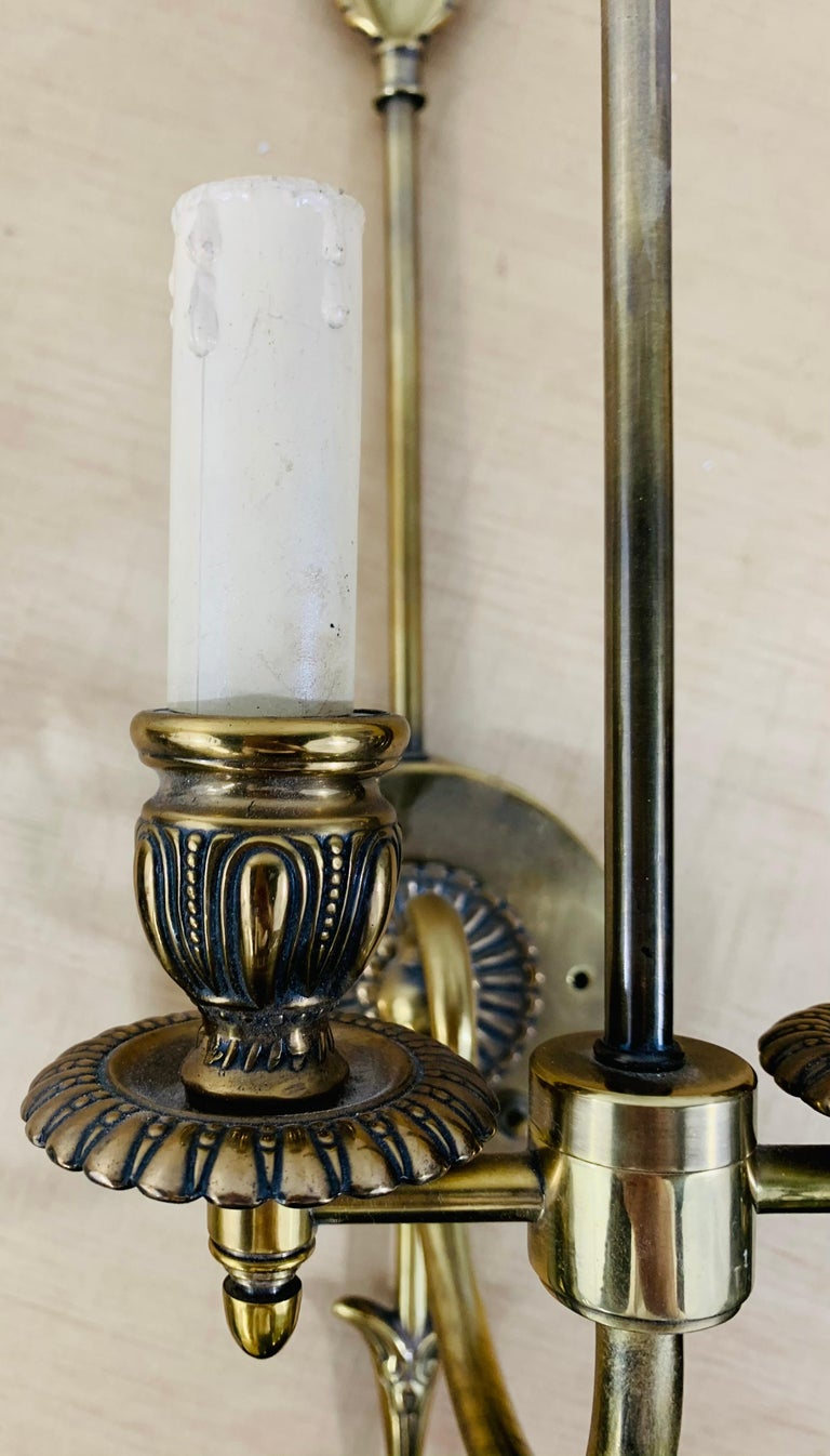 Antique Federal Style Double Arm Brass Wall Sconce, a Pair For Sale 1