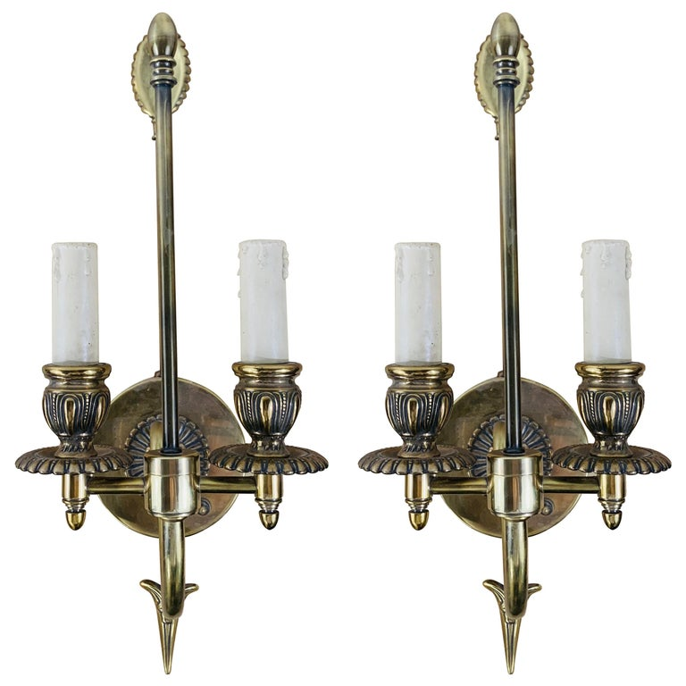 Antique Federal Style Double Arm Brass Wall Sconce, a Pair For Sale