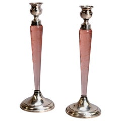 Federal Style Hawkes Etched Rose Glass and Sterling Candlesticks, circa 1930