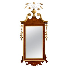Federal Style Satinwood Inlaid Mahogany Parcel-Gilt Wall Mirror, 20th Century