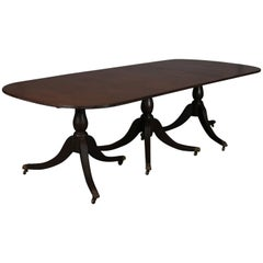 Antique Federal Triple Pedestal Mahogany Banquet Table with 2 Leaves, circa 1900