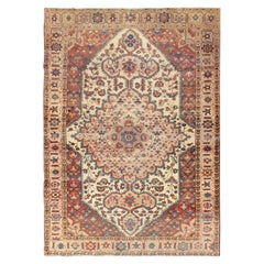 Antique Feraghan Sarouk Rug in Ivory Background, Brown Red, Camel, and Teal