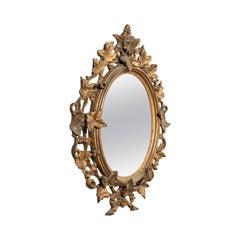Antique Festive Mirror, English, Giltwood, Glass, Winter, Victorian, circa 1860