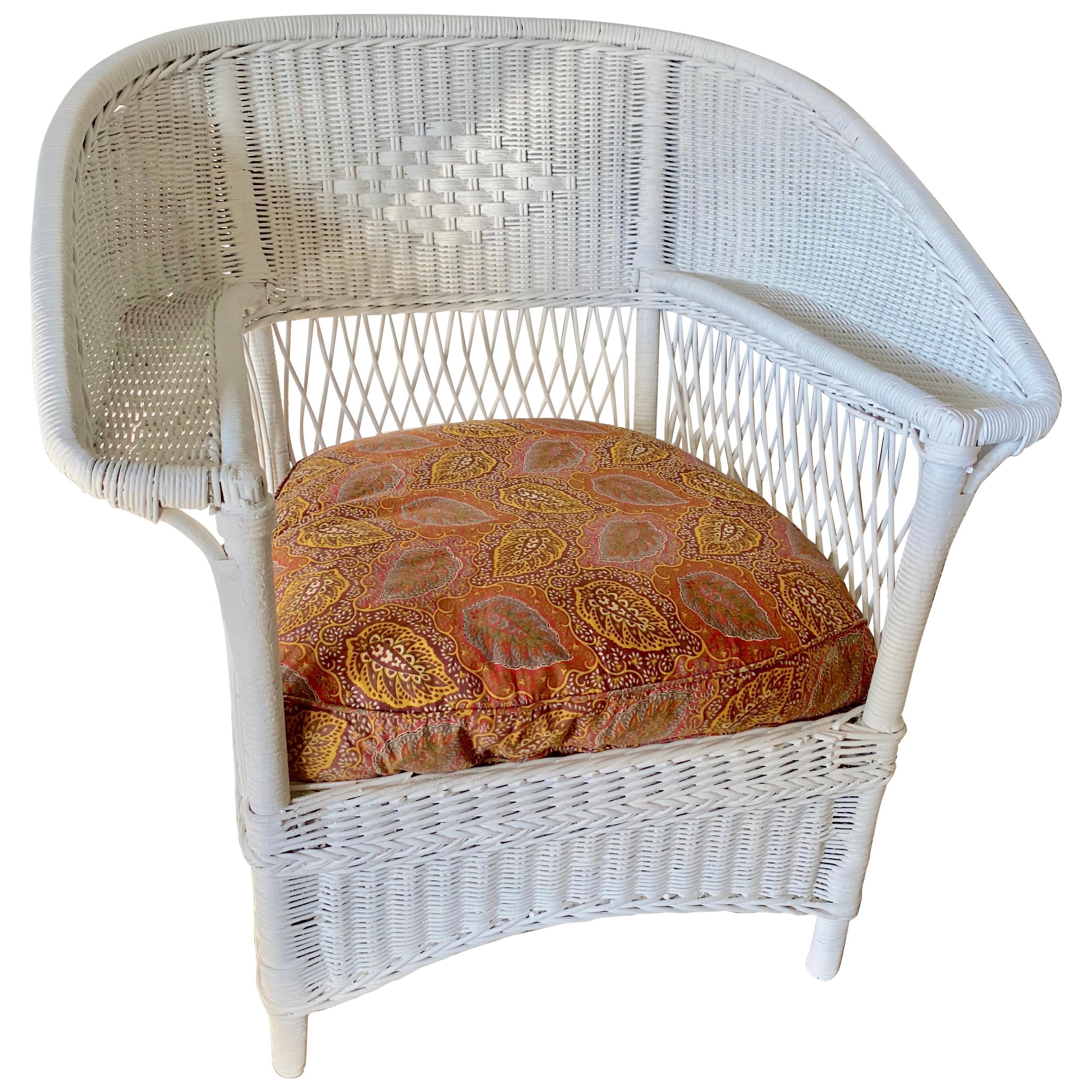 Antique Ficks Reed Wide Arm Wicker Armchair