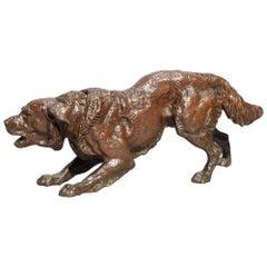 Antique Figural Bronze Field Bird Retriever Dog Sculpture, circa 1900