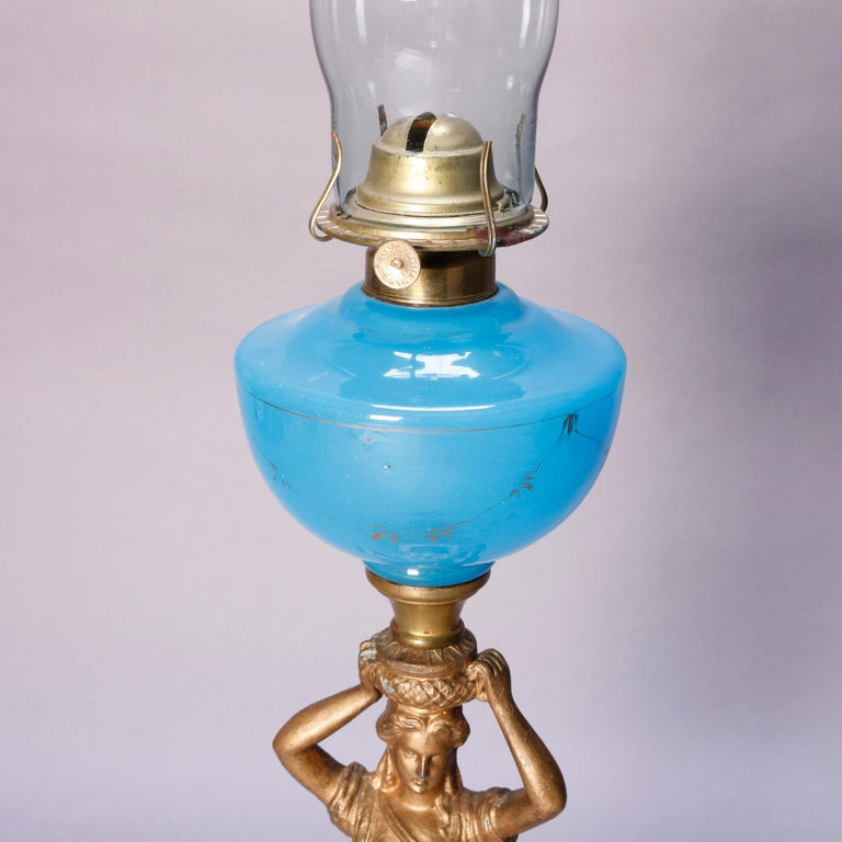 Antique Figural Bronze Gone with the Wind Gilt Art Glass Oil Lamp, circa 1890 For Sale 4