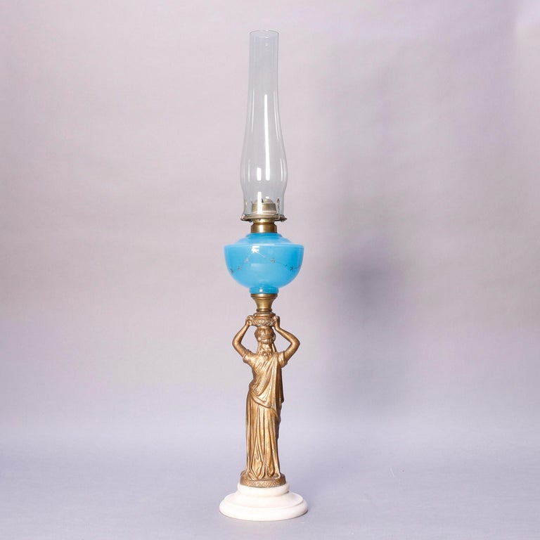 Antique Figural Bronze Gone with the Wind Gilt Art Glass Oil Lamp, circa 1890 For Sale 7