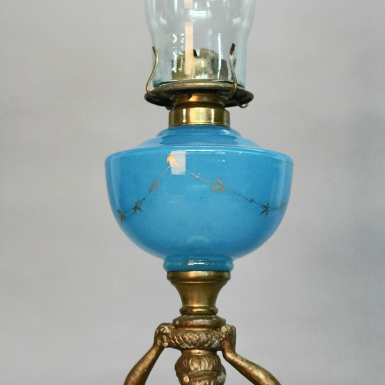Classical Greek Antique Figural Bronze Gone with the Wind Gilt Art Glass Oil Lamp, circa 1890 For Sale