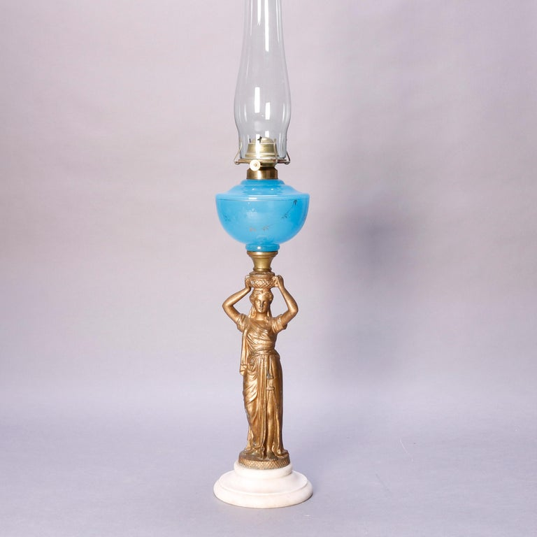 Antique Figural Bronze Gone with the Wind Gilt Art Glass Oil Lamp, circa 1890 For Sale 1