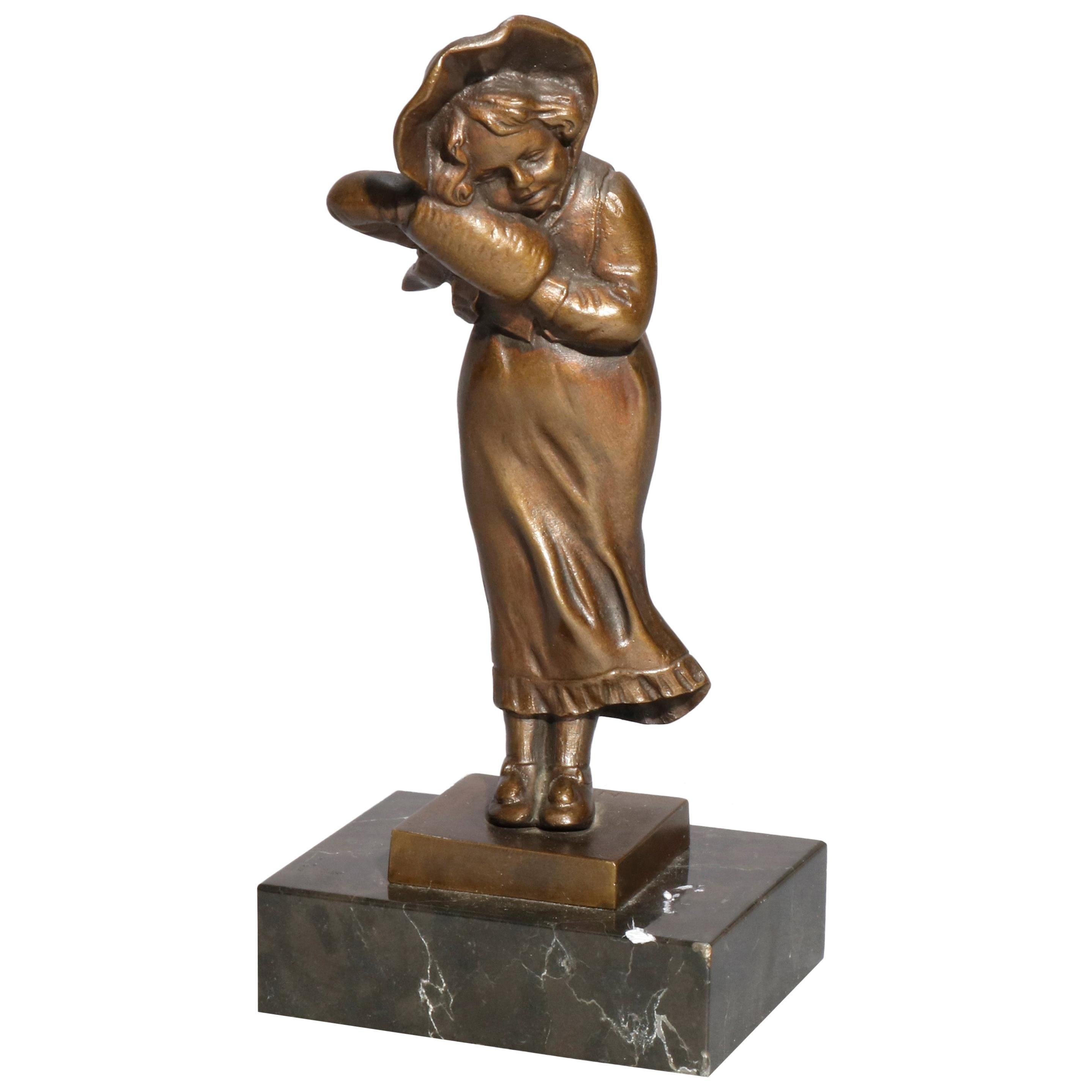 Antique Figural Bronze Portrait Sculpture of Young Girl, circa 1910