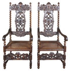 Antique Figural Carved Mahogany Throne Chairs Victorian Gothic Spanish Revival