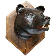 Antique Figural Carved Wood & Composition Polychromed Bear Mount on Plaque c1900