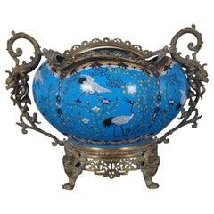 Antique Figural Bronze Chinese Cloisonné Jardiniere Cranes Dragons Cache Pot