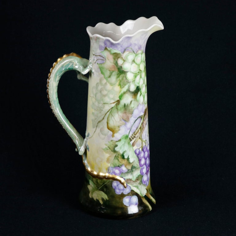 High Victorian Antique Figural French Grape & Leaf Limoges Tankard with Dragon Handle For Sale