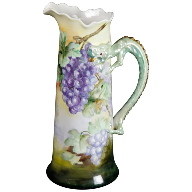 Antique Figural French Grape & Leaf Limoges Tankard with Dragon Handle For Sale