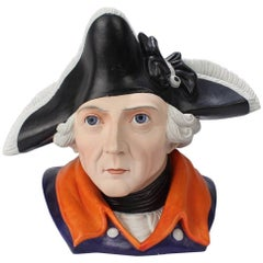 Antique Figural German Bisque Humidor of the Prussian King Frederick the Great