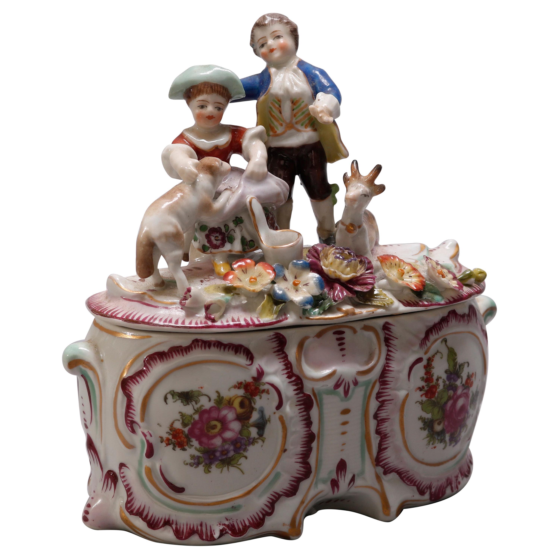 Antique Figural German Meissen School Painted and Gilt Porcelain Dresser Box