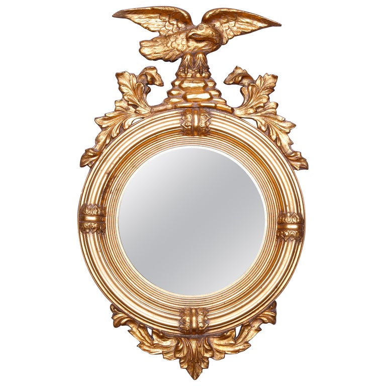 Antique Figural Giltwood Federal Style Bullseye Wall Mirror, 20th Century For Sale