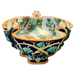 Figural Italian Classical Pictorial Majolica Pottery Center Bowl, circa 1880