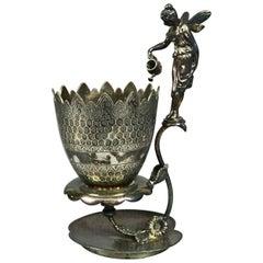 Antique Figural Silver Plate Classical Tufts School Fairy & Tulip Spooner