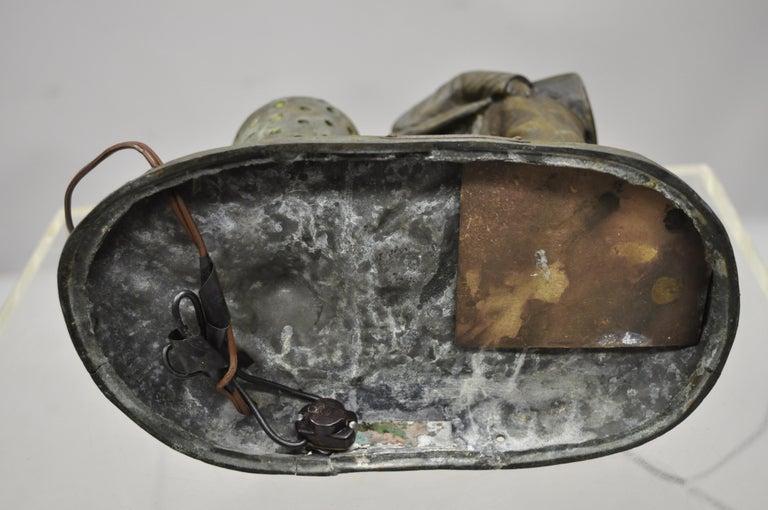 Antique Figural Spelter Metal Ahi La Bonne Pipe Ranieri Statue Art Deco Lamp B For Sale 4