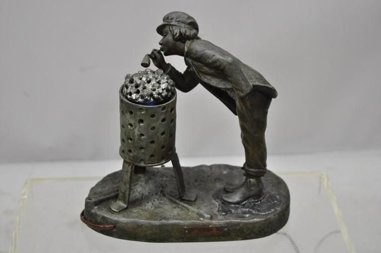 Antique Figural Spelter Metal Ahi La Bonne Pipe Ranieri Statue Art Deco Lamp B For Sale 6