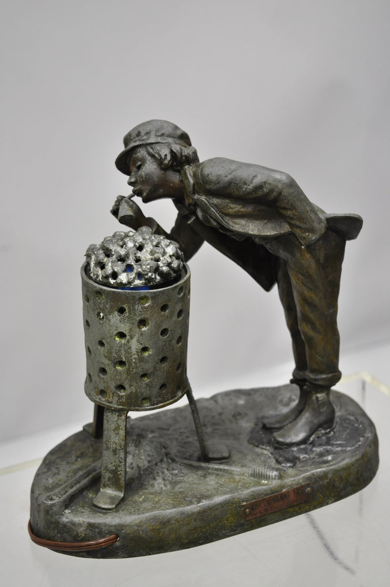 Antique figural Spelter metal Ahi La Bonne pipe Ranieri statue Art Deco lamp (B). Item includes spelter metal construction, plaque to front reading,