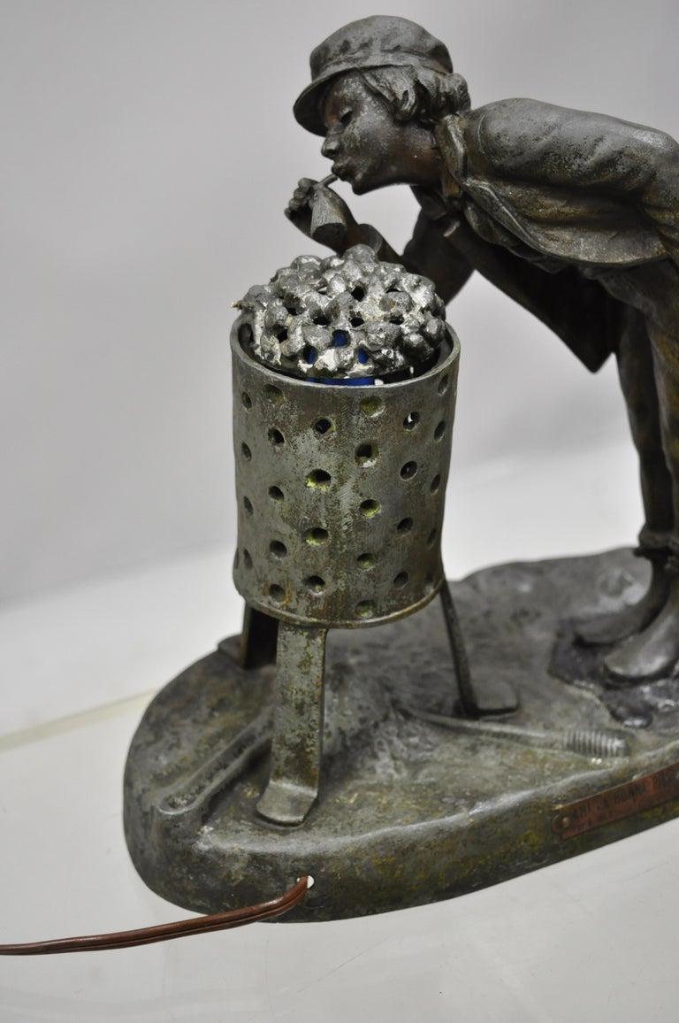 Art Nouveau Antique Figural Spelter Metal Ahi La Bonne Pipe Ranieri Statue Art Deco Lamp B For Sale