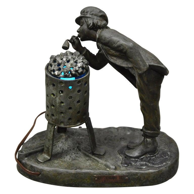 Antique Figural Spelter Metal Ahi La Bonne Pipe Ranieri Statue Art Deco Lamp B For Sale