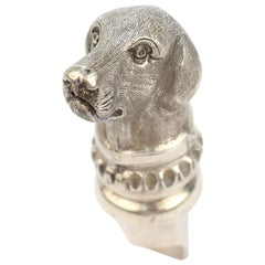 Antique Figural Sterling Silver Dog Whistle from the Mario Buatta Collection