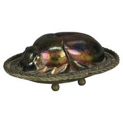 Antique Bronze & Favrile Art Glass Scarab Sculpture Signed Tiffany, c1920