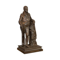Antique Figure, Sir Walter Scott, Bronze, Statue, Poet, Victorian, circa 1880