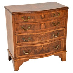 Antique Figured Walnut Serpentine Chest of Drawers