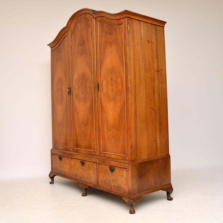 Queen Anne Antique Figured Walnut Three-Door Wardrobe For Sale