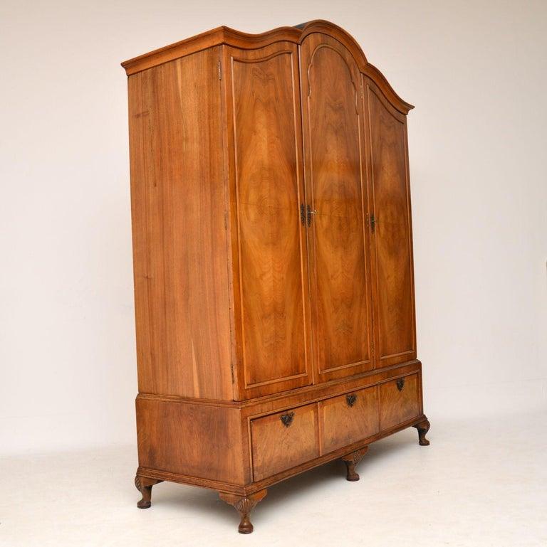 British Antique Figured Walnut Three-Door Wardrobe For Sale