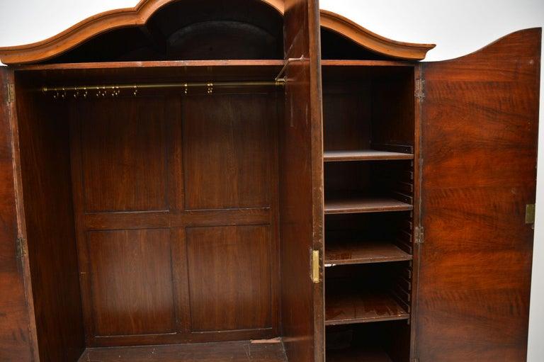 Late 19th Century Antique Figured Walnut Three-Door Wardrobe For Sale
