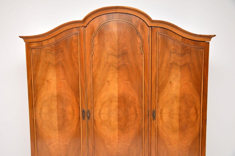 Brass Antique Figured Walnut Three-Door Wardrobe For Sale