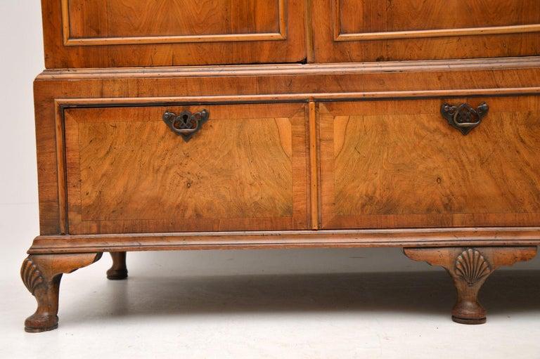 Antique Figured Walnut Three-Door Wardrobe For Sale 1