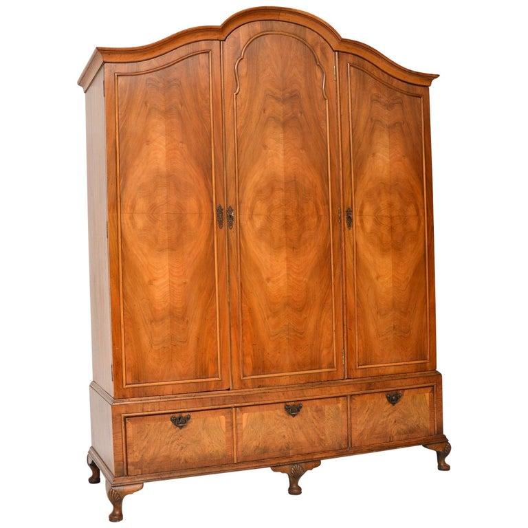 Antique Figured Walnut Three-Door Wardrobe For Sale